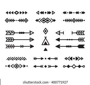 Native American Indian design elements set. Borders, arrows, ornaments and other symbols. Tribal vector elements in modern geometric style.