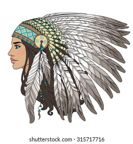Native american indian girl in chief headdress.