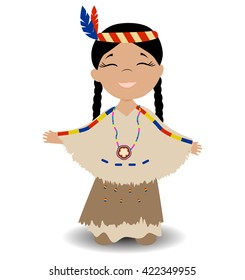 Native American Indian girl. Smiling girl with eyes closed. Vector illustration.