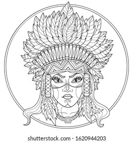 Native american indian girl.Coloring book antistress for children and adults. Illustration isolated on white background.Zen-tangle style. Black and white drawing