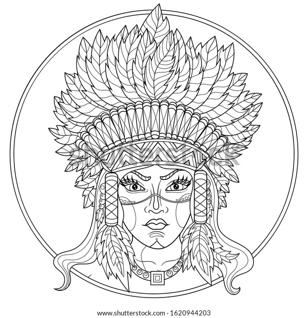 - Native American Indian Girlcoloring Book Antistress Stock Vector (Royalty  Free) 1620944203
