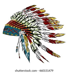 Native American indian headdress with feathers in a sketch style. For Thanksgiving day. Vector illustration.
