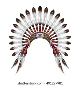 Native American Indian headdress. Red indian tribal chief headdress with feathers. Feather headdress. Vector colorful illustration isolated on white background