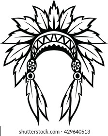 Native american indian headdress. Vector illustration
