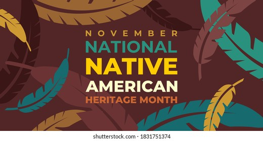 Native american indian heritage month. Vector banner, poster, card for social media with the text National native american heritage month. Background with a national ornament, a pattern of feathers