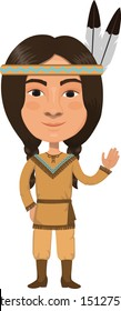 Native American Indian Man Cartoon Character