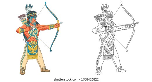 Native American Indian man. Coloring page and colorful clipart character. Cartoon design for t shirt print, icon, logo, label, patch or sticker. Vector illustration.