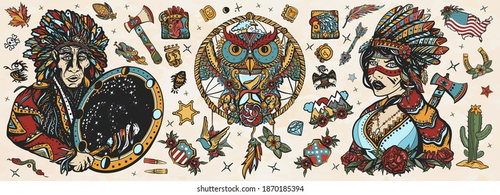 Native American Indian old school tattoo vector collection. Ethnic warrior girl, shamanic female, dream catcher, owl and old cherokee shaman. Tribal culture and history. Traditional tattooing style