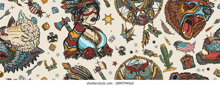 Native American Indian old school tattoo style. Seamless pattern Ethnic warrior girl, wolves and bear, dream catcher. Tribal culture and history. Traditional tattooing art