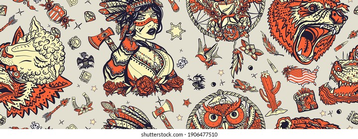 Native American Indian old school tattoo style. Ethnic warrior girl, wolves and bear, dream catcher. Seamless pattern. Tribal culture and history. Traditional tattooing art