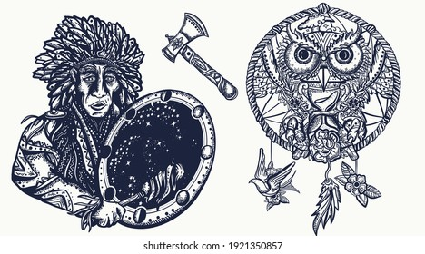 Native American Indian old school tattoo vector collection. Tribal culture and history. Traditional tattooing style. Ethnic warrior, dream catcher, owl and old cherokee shaman