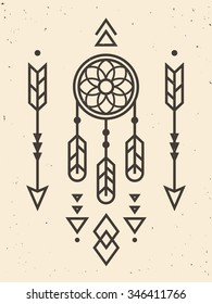 Native American Indian ornament with deamcatcher, arrows and triangle elements. Modern geometric hipster style. Vintage distressed texture on separate layer.
