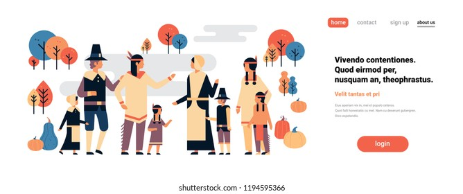 native american indian people thanksgiving day celebrating concept men women children group communication cartoon character full length isolated horizontal copy space flat vector illustration