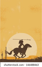 Native american indian poster, vector