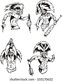 Native American Indian Shamans. Set of black and white vector illustrations.
