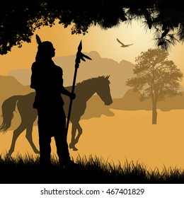 Native american indian silhouette with spear and horse on beautiful sunset, vector illustration