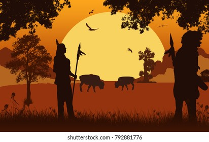 Native american indian silhouettes on beautiful orange sunset, vector illustration