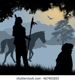 Native american indian silhouettes with spear and horse on beautiful blue sunset, vector illustration