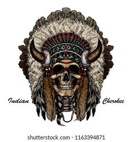 Native american indian skeleton face