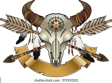native american indian symbol, Buffalo Skull With arrows and Feathers