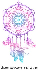 Native American Indian talisman dream catcher with Metatrons Cube, Flower of life, feathers, moon. Vector hipster illustration isolated on white. Ethnic design, boho, dreamcatcher tribal symbol.