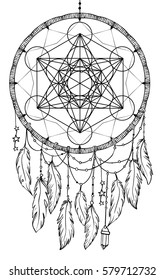Native American Indian talisman dream catcher. Metatrons Cube, Flower of life, feathers. Vector hipster illustration isolated. Ethnic design, boho, dreamcatcher tribal symbol. Coloring book for adults