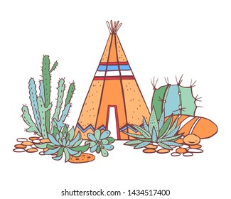 Native American indian traditional wigwam, succulents and cactuses. Vector hand drawn color outline doodle sketch illustration on white background