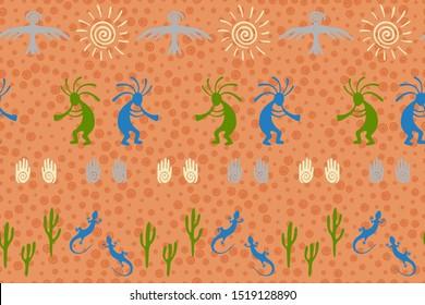 Native american indian vector ethnic tribal motifs seamless pattern. Aborigine design with lizard, Kokopelli fertility deity, sun, eagle, cacti. Navajo indian desert wildlife pattern.