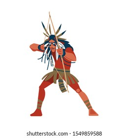 Native American Indian warrior man shooting a bow, tribe member in traditional ethnic clothes and headband with feather. Cartoon, flat vector illustration isolated in white background.