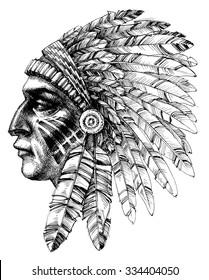 Native american indian warrior profile with war headdress, t-shirt design