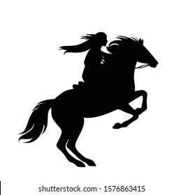 native american indian woman riding rearing up horse - black and white vector silhouette design