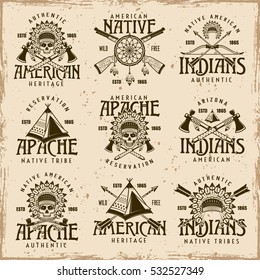 Native american indians, apache tribes set of vector brown emblems, labels, badges and logos in vintage style on dirty background with stains and grunge textures
