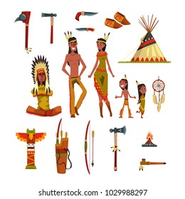 Native american indians and traditional clothes set, weapons and cultural symbols vector Illustrations