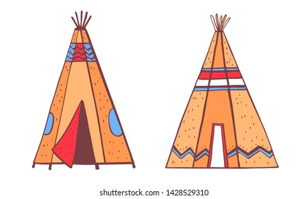 Native American indians traditional tipies. Two color wigwams. Vector hand drawn outline doodle sketch illustration on white background