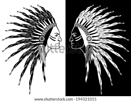 Native American Man Face Profile Feathers Stock Vector Royalty Free