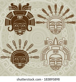 Native American mask stencil and stroke variant
