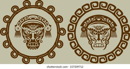 Native American masks in circular pattern
