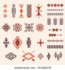 Native american navajo aztec pattern vector elements design set