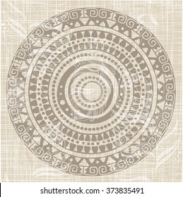 Native American pattern. Round ornament.