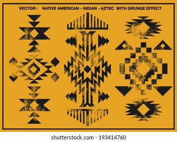 Native American patterns with grunge effect