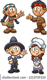 Native American and Pilgrim Thanksgiving  kids.  Vector clip art illustration with simple gradients. Each on a separate layer.