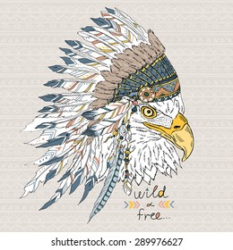 native American poster, eagle in war bonnet, t-shirt print