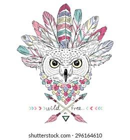 native american poster, indian owl in war bonnet, t-shirt design