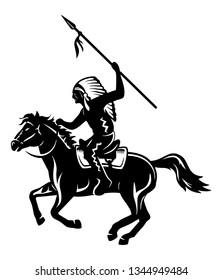 native american riding a horse