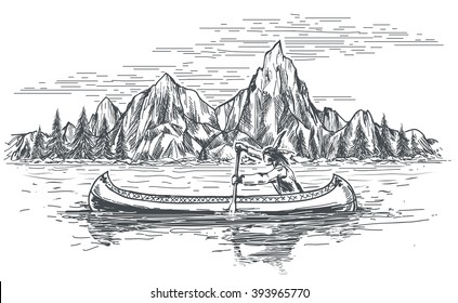 Native american rowing indian in canoe boat on mountain landscape. Hand drawn vector illustration