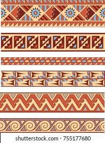 Native American Seamless Vector Borders