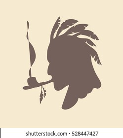 native American smoking pipe of peace vector illustration silhouette head