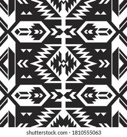 Native American Southwest, Aztec, Navajo seamless pattern. Tribal black and white geometric print. Ethnic design wallpaper, fabric, cover, textile, rug, blanket.