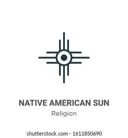 Native american sun glyph icon vector on white background. Flat vector native american sun icon symbol sign from modern religion collection for mobile concept and web apps design.
