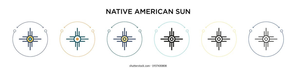 Native american sun icon in filled, thin line, outline and stroke style. Vector illustration of two colored and black native american sun vector icons designs can be used for mobile, ui, web